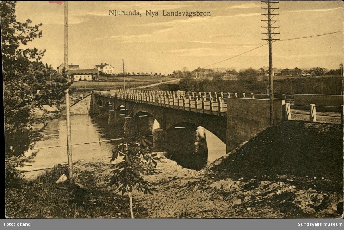 Vykort med motiv över nya landsvägsbron i Njurunda utanför Sundsvall.