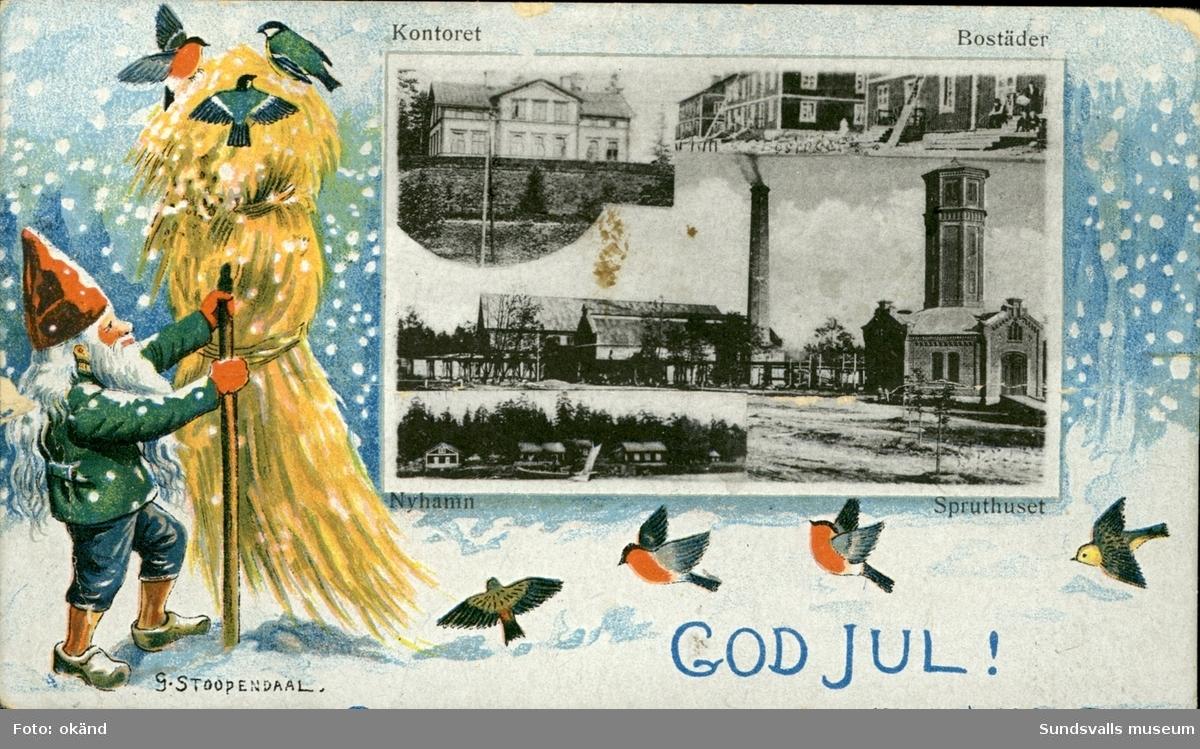 Vykort med motiv över Nyhamn utanför Sundsvall. Infällda motiv av  kontoret, bostäder och spruthuset. Med texten: God Jul.