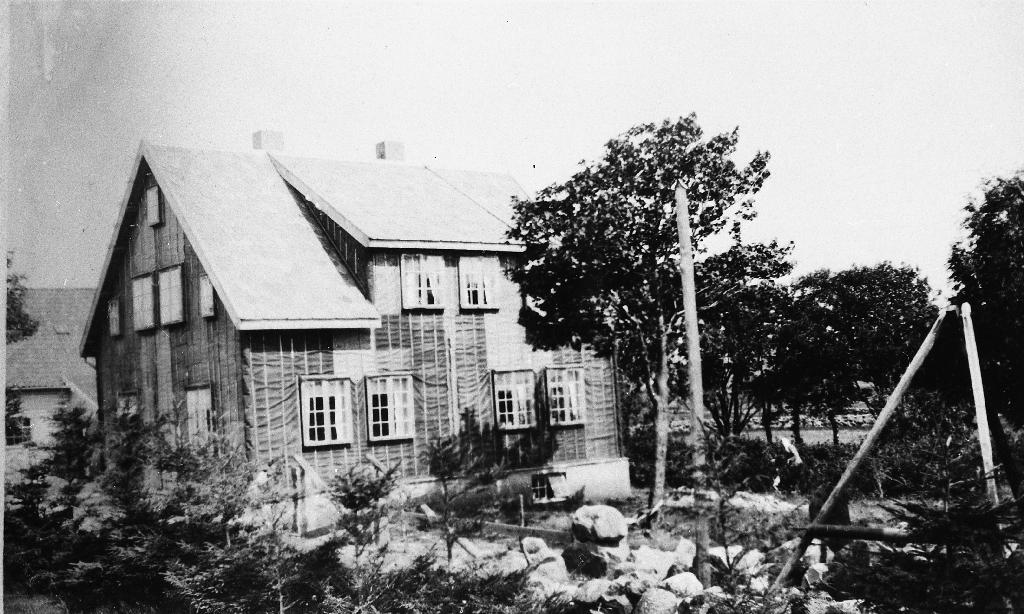 Heimehuset på Heiane i 1924. Huset er nytt og ikkje bordkledd ennå. Til høgre telefonstolpe og steinbukk.