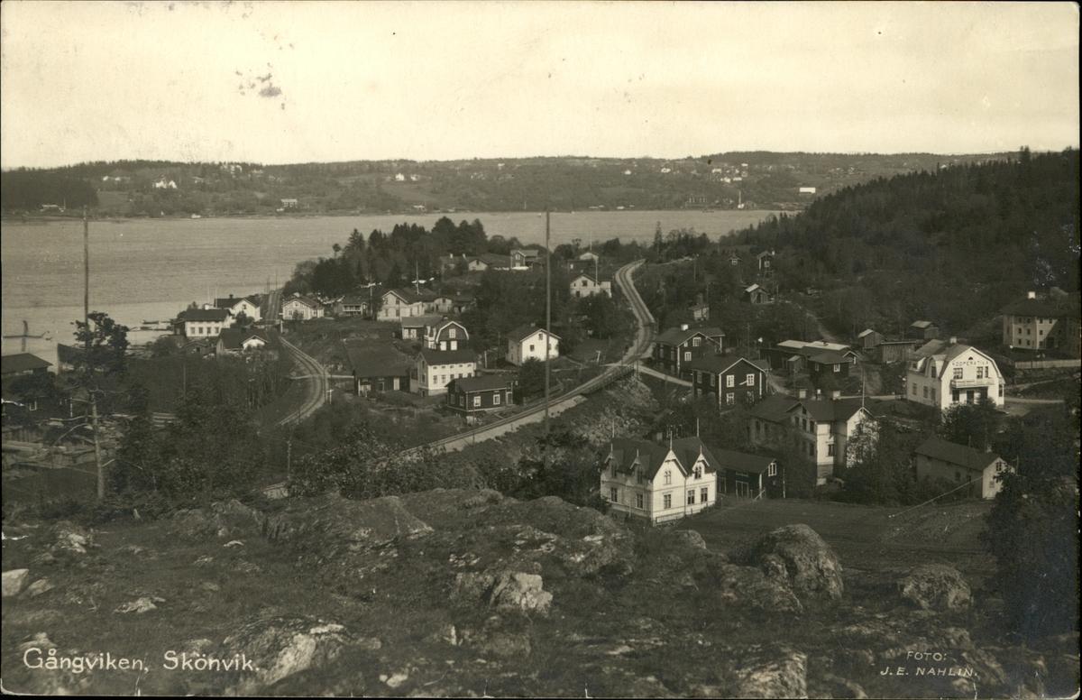 Vykort med motiv över Gångviken i Skönvik.