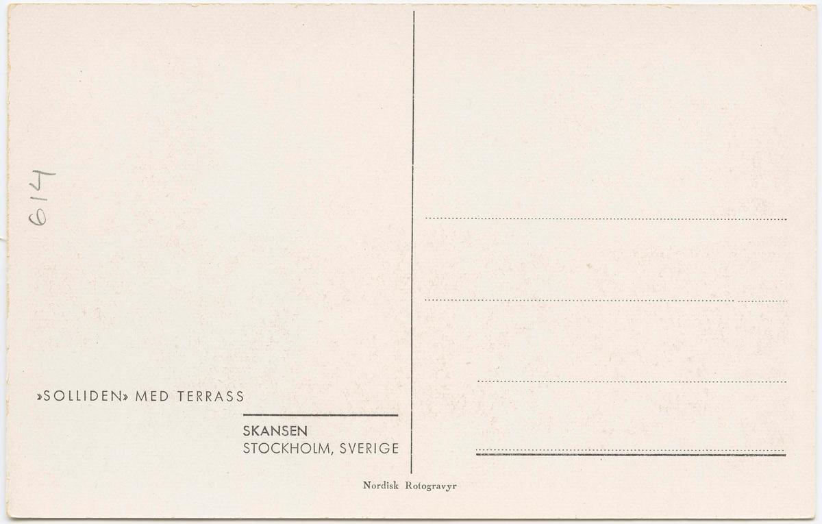 """Vykort med motiv från Skansen. """"Solliden med terrass."""""""