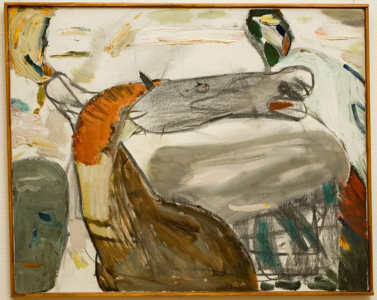 """Oljemålning av Hans Viksten, """"Hästlandskap""""."""