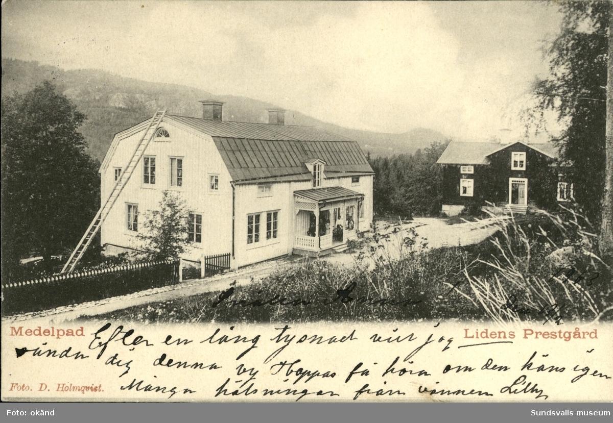 Vykort med motiv över prästgården i Liden.
