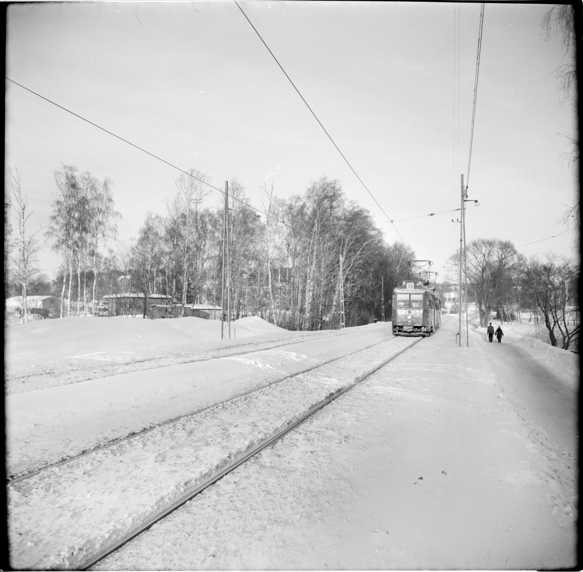 """Lidingö Trafik Aktiebolag, LiB A24(A) 10 """"ängbyvagn"""" linje 20 Ropsten - Kyrkviken."""