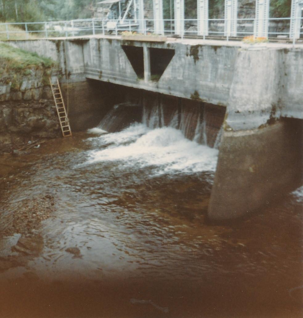 Strømmende vann fra Randselva gjennom demning på Kistefoss