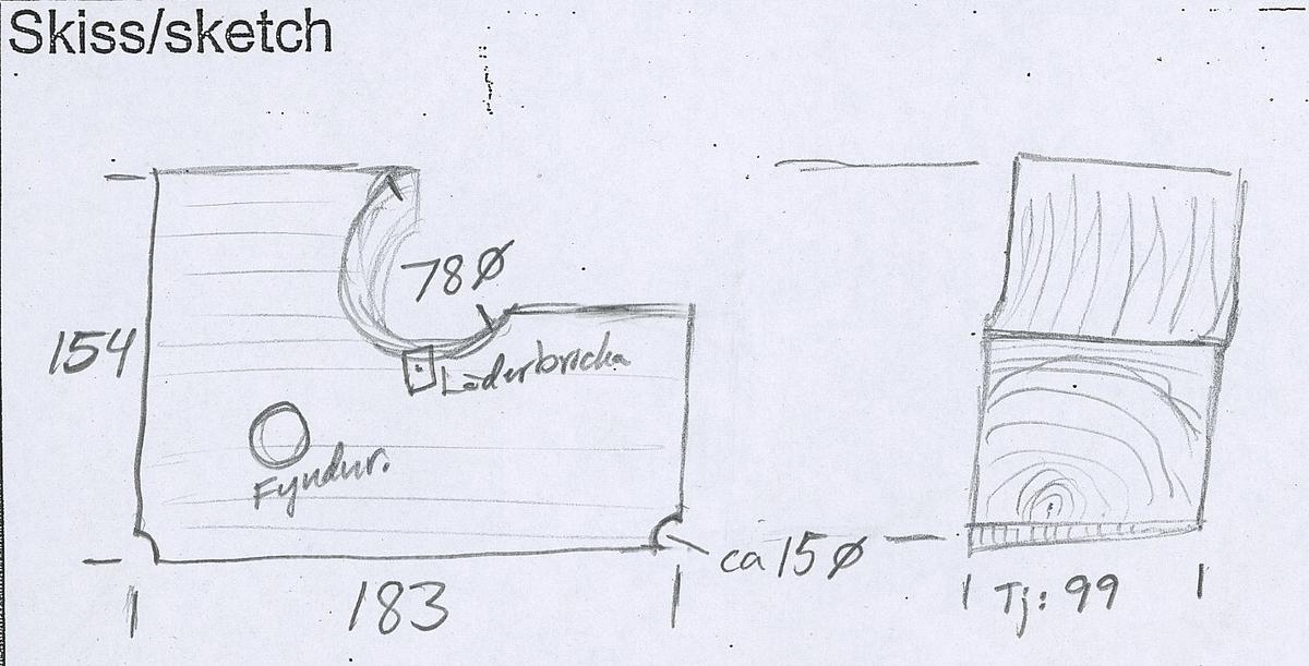 Del av bordläggningsplanka. Biten har två borrspår samt ett stort genomgående hål från tidigare dränering.