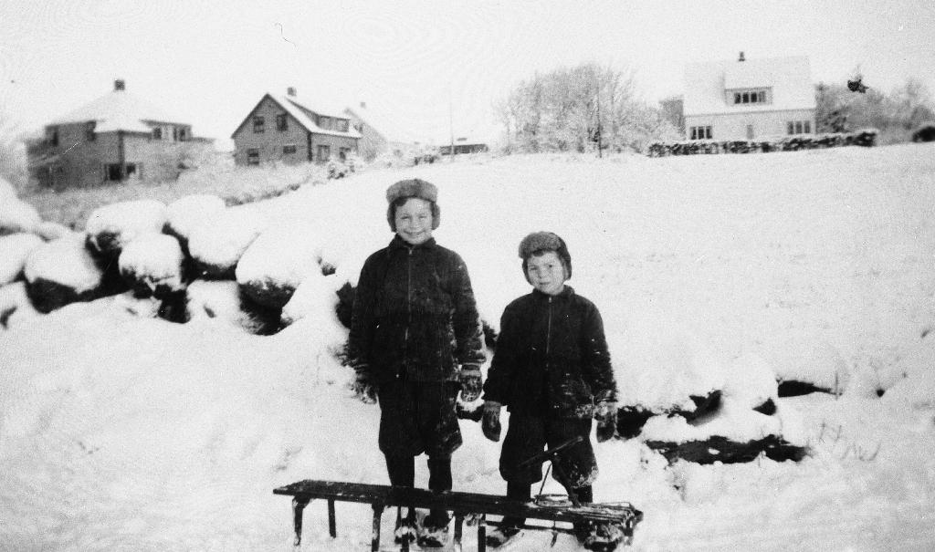 Sønene til Malena og Jarluf Stensland med slede på Brynehaugen i desember 1950. Frå v. : John Morten Stensland (1943 - ) og Nils Steinar Stensland (1944 - ). Sleden hadde også faren brukt som liten.  Husa bak t. v. tilhøyrde Ingvald Ree, Magnus Fjogstad og lærar Vidvei.