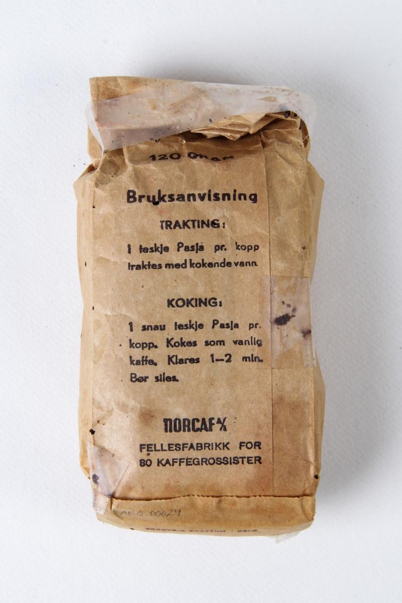 Kaffepose med innhold.