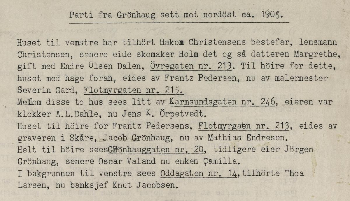 Parti fra Grønhaug sett mot nordøst, ca. 1905.