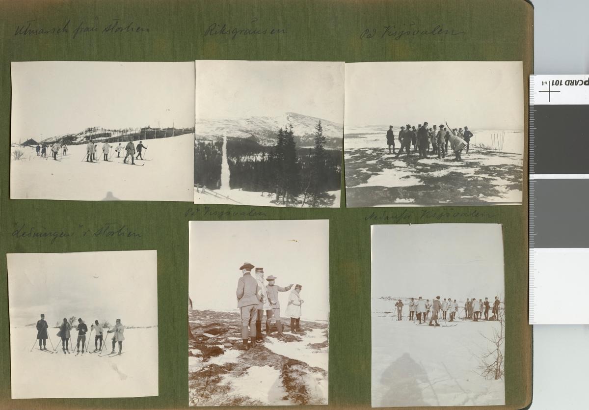"""Text i fotoalbum: """"Kungl. Krigshögskolans vinterfältövningar 1910. På Visjövalen""""."""