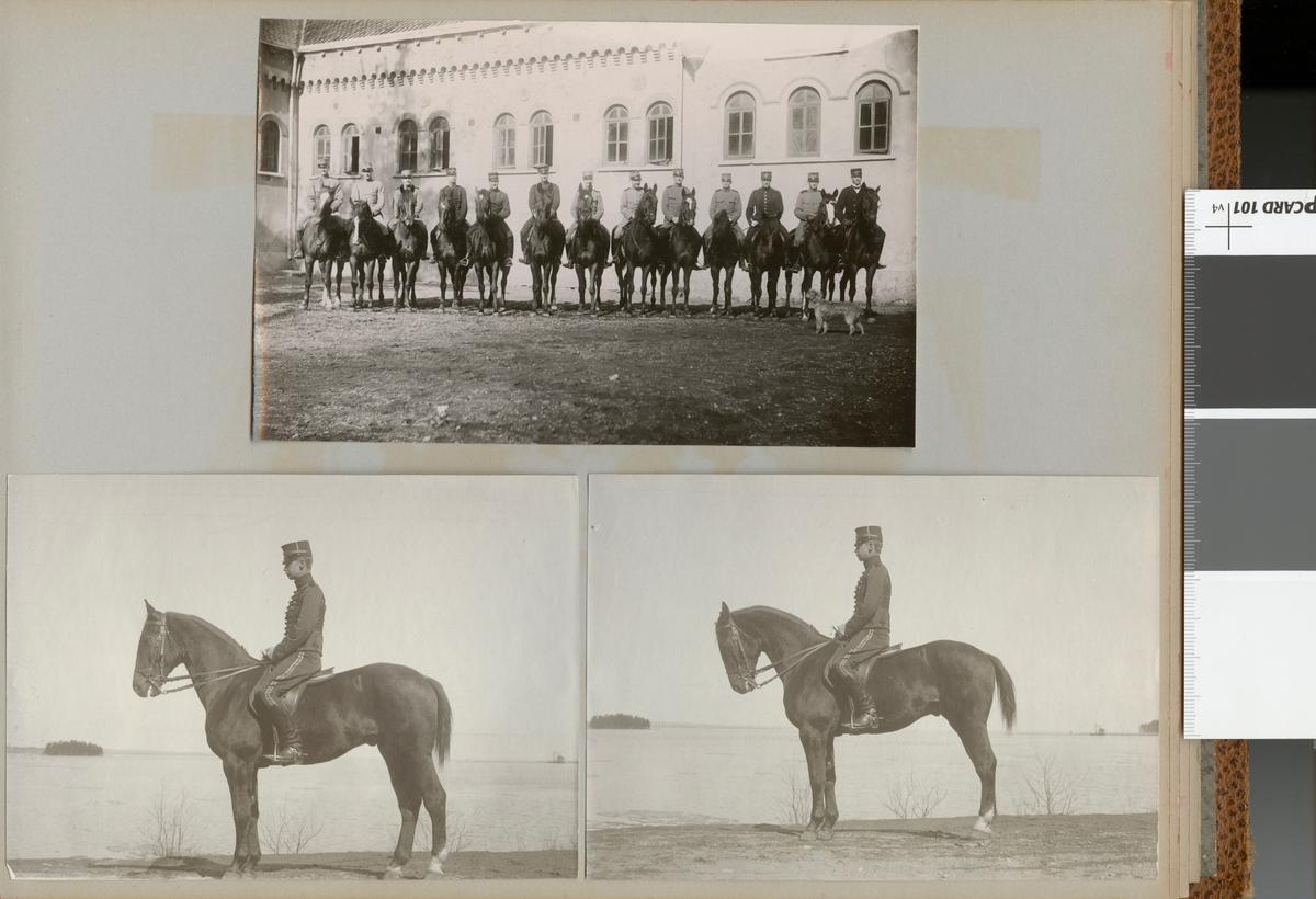 Soldater till häst framför en byggnad.