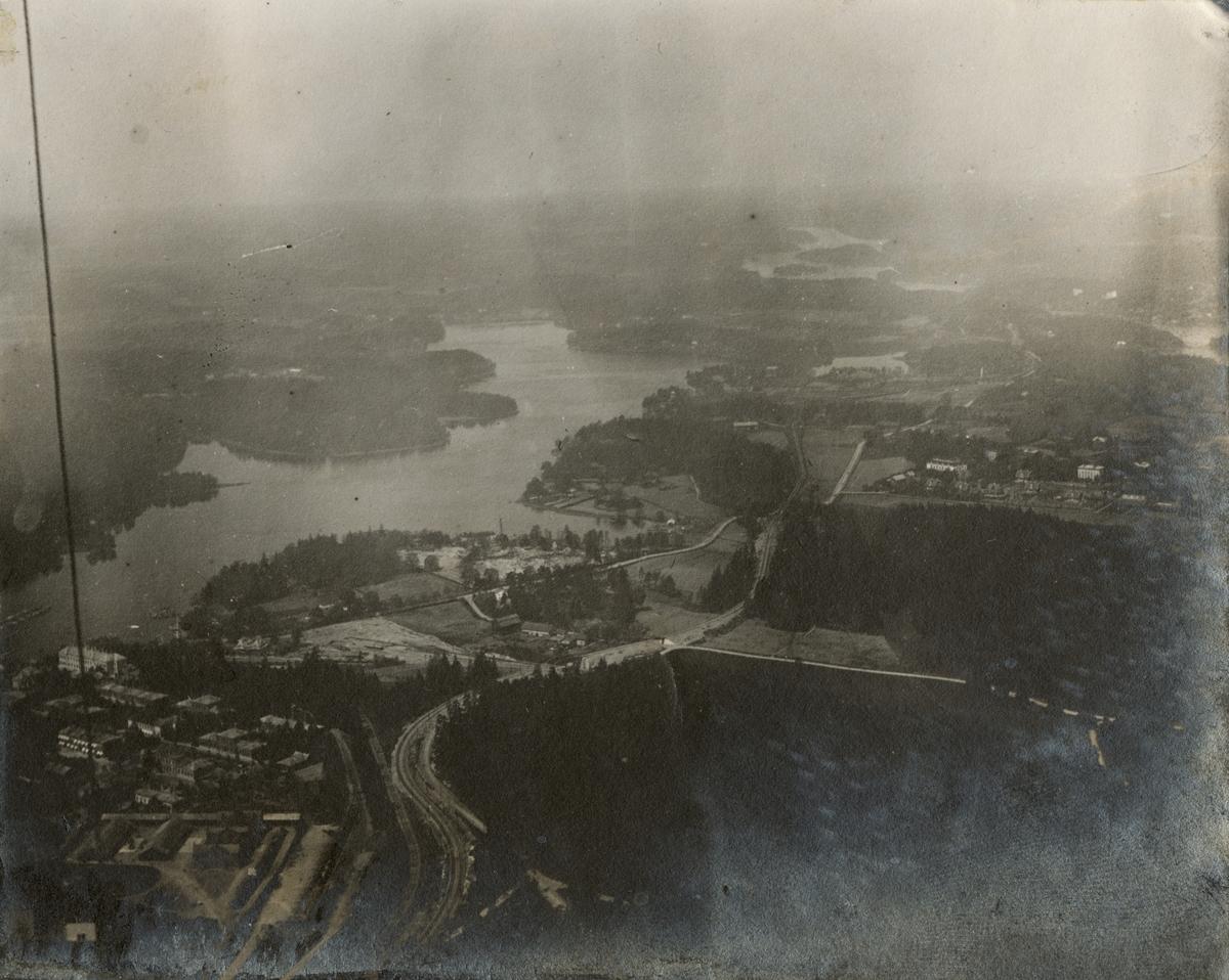Flygfoto taget från luftballong.