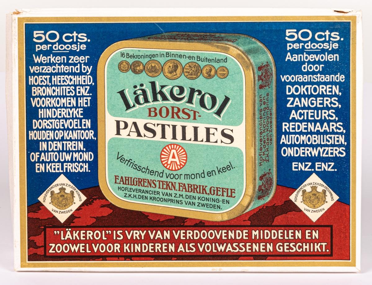 Reklamställ i papp för tablettaskar i plåt innehållande 15 Läkerol tablettaskar.