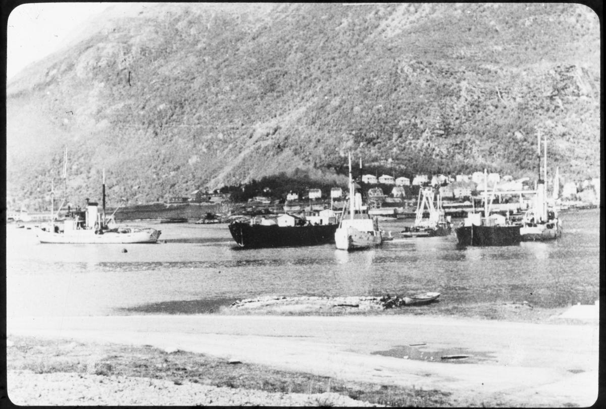 Arbeid i forbindelse med skipsbergning. Fjordlandskap med bebyggelse.