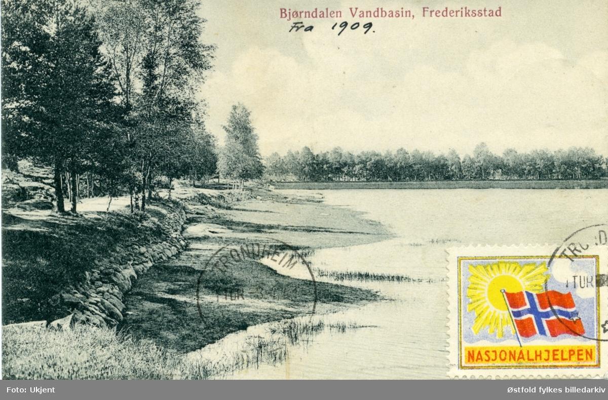 Bjørndalen vannbasseng i Fredrikstad, 1909. Postkort.