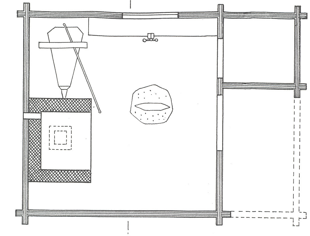 Smedjan på Skansen är en timrad byggnad med tegeltak. Vid gavelingången finns en öppen hörnsvale bredvid den inbyggda kolboden. Fasaden är målad med röd slamfärg.  Smedjan kommer från Bruskebo gård, Väster-Lövsta socken i västra Uppland. Byggnaden är troligen uppförd i slutet av 1700-talet eller i början av 1800-talet.   Smedjan återuppfördes på Skansen 1910.