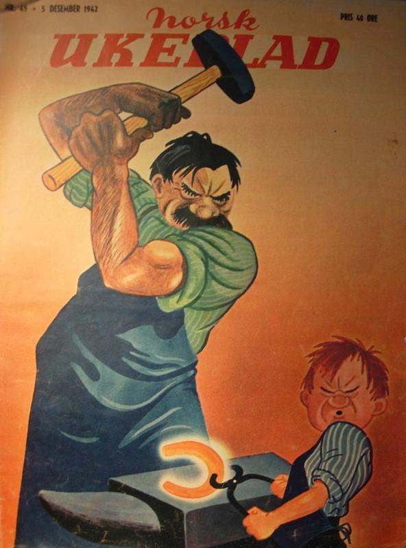 Per Holck tegnet Stalin som smed og Hitler som læregutt på Norsk Ukeblad i 1942 (Foto/Photo)