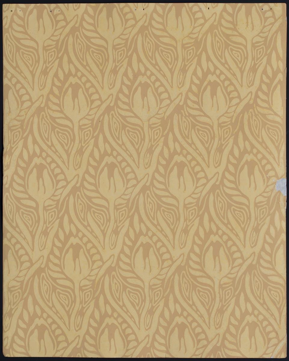 Tapetprøve med stilisert tulipanmønster.