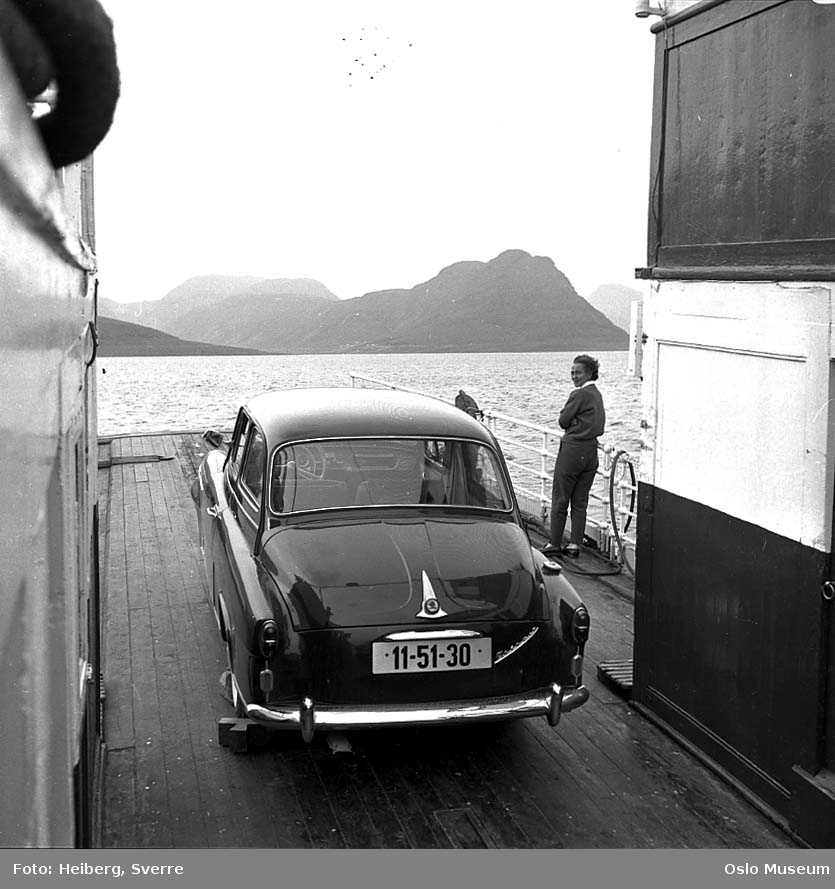 ferge, bil, kvinne, fjord, fjell