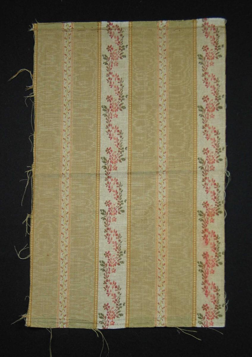 Stoffrest med langssgående blomsterborder. 11 cm bred gul stripe i moirert rips, småmønstrete midtbord. 5 cm bred stripe i lin med bølgete blomsterranke. En mønsterrapport i bredden: 16 cm. Bunnfargen er beige med dekor i gult, rosa og grønt.