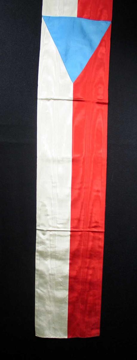Begravelsessløyfe i silke med tsjekkiske nasjonalfarger. Ingen tekst.