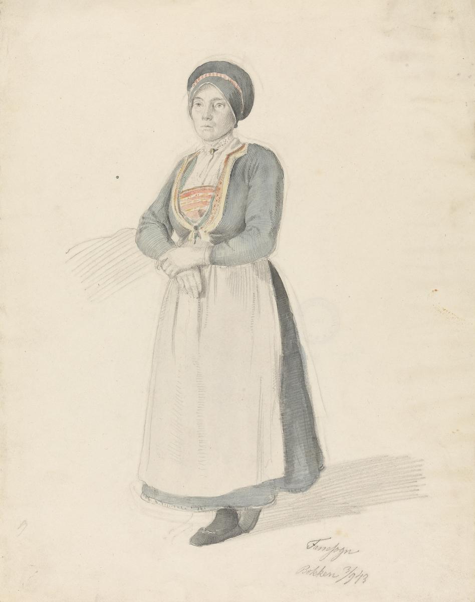 Stående kvinne i bunad [Tegning]