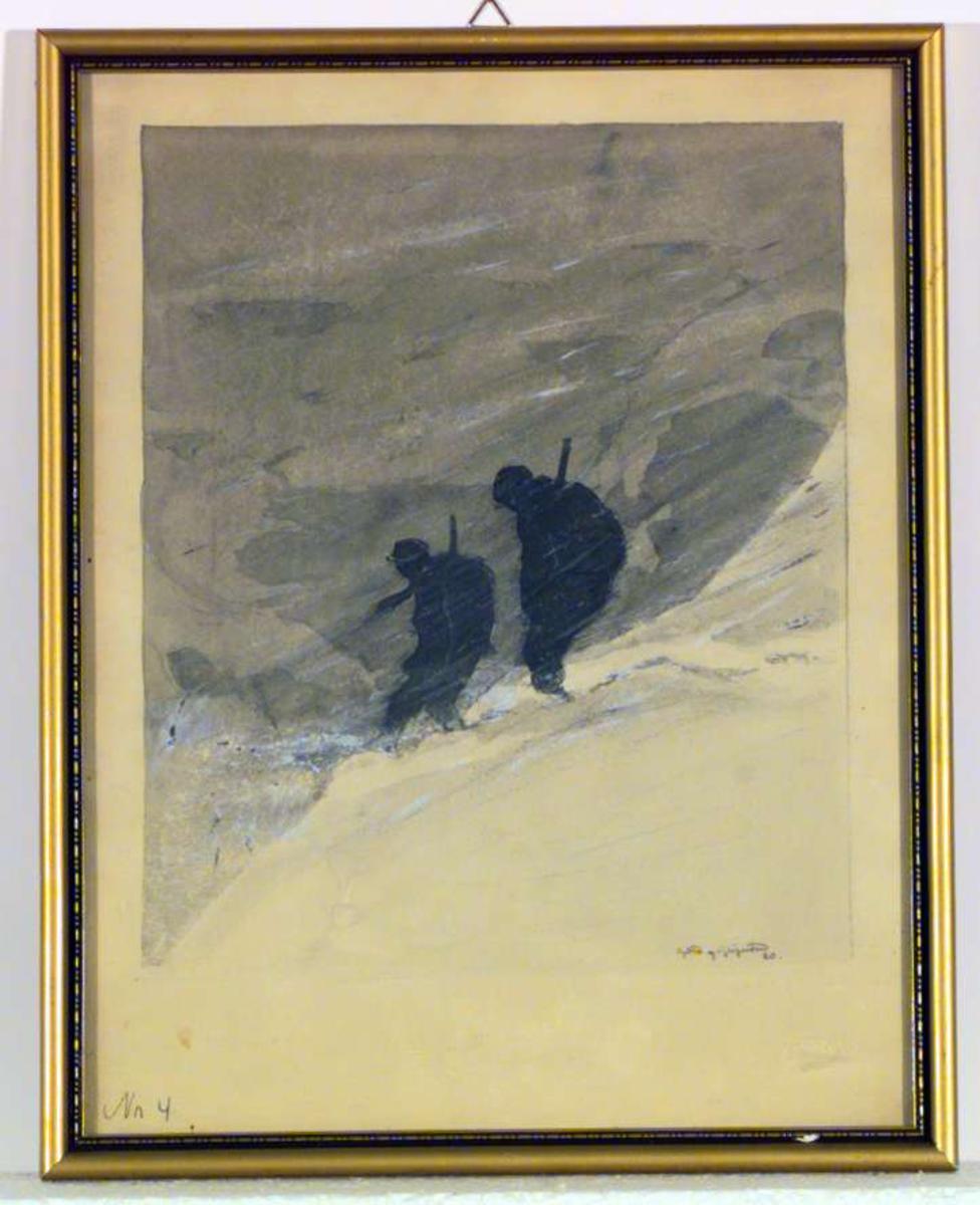 To jegere på fjellet en vinterdag med vind.