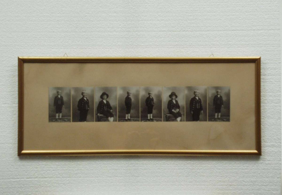 Billedserie med 8 fotografier av Sigrid Undsets sønn Hans Benedict Undset Svarstad som barn, kledd i bunad.