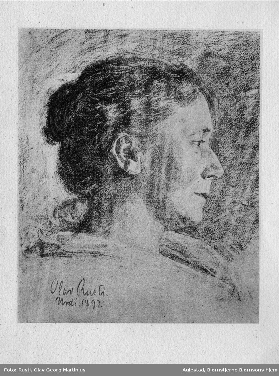 Kvinne, ex libris, repro, blyantskisse,