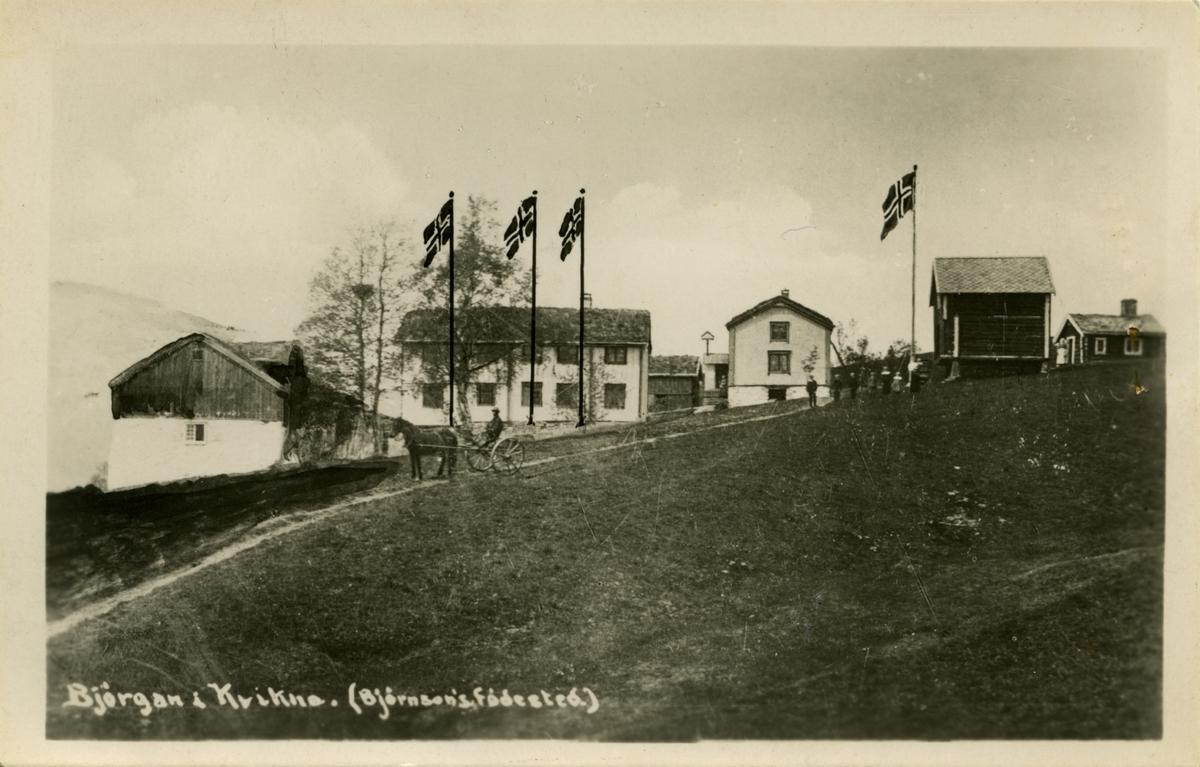 Postkort, Bjørgan prestegård, Kvikne, retusjert