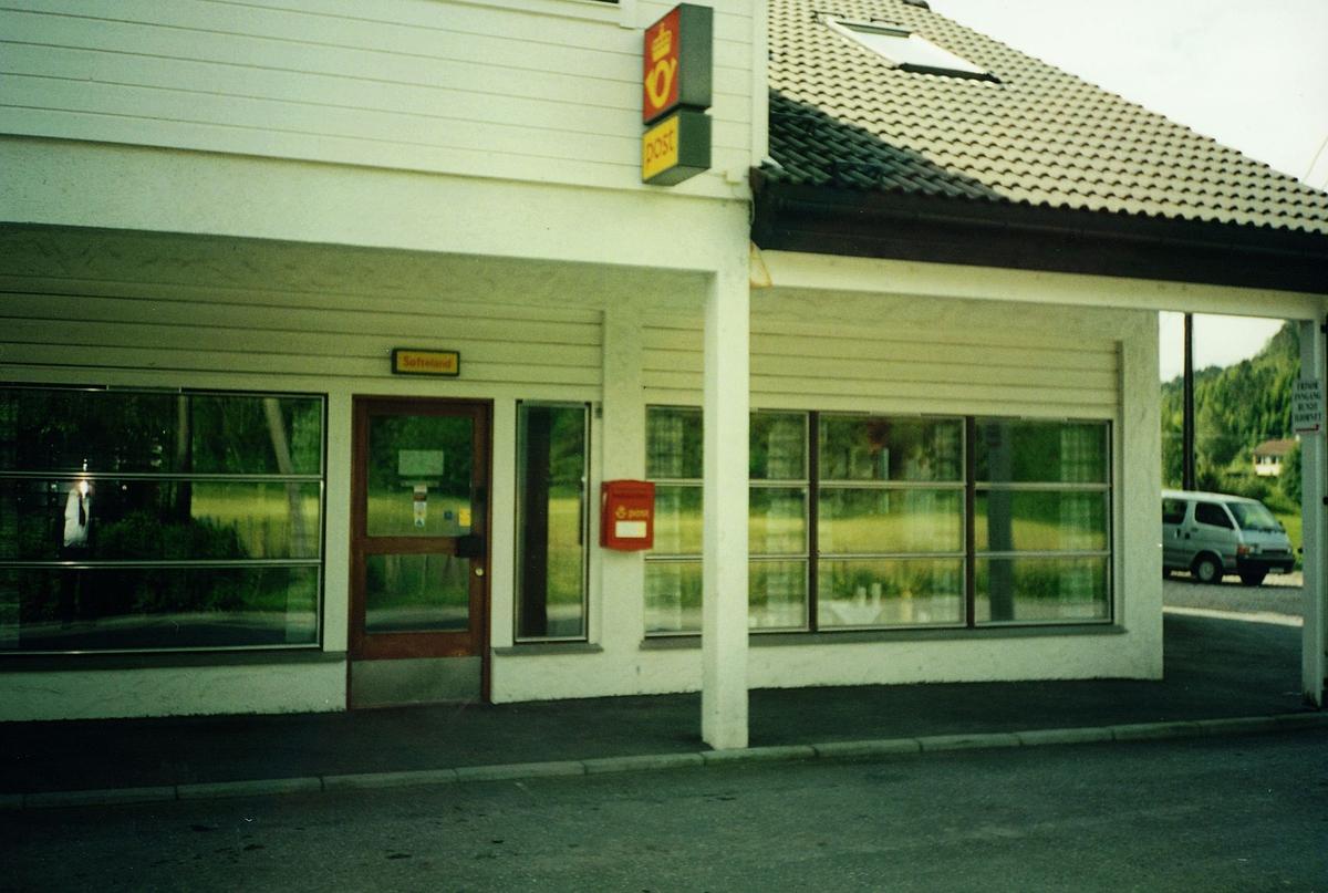 eksteriør, postkontor, 5212 Søfteland, stedsskilt, postkasse