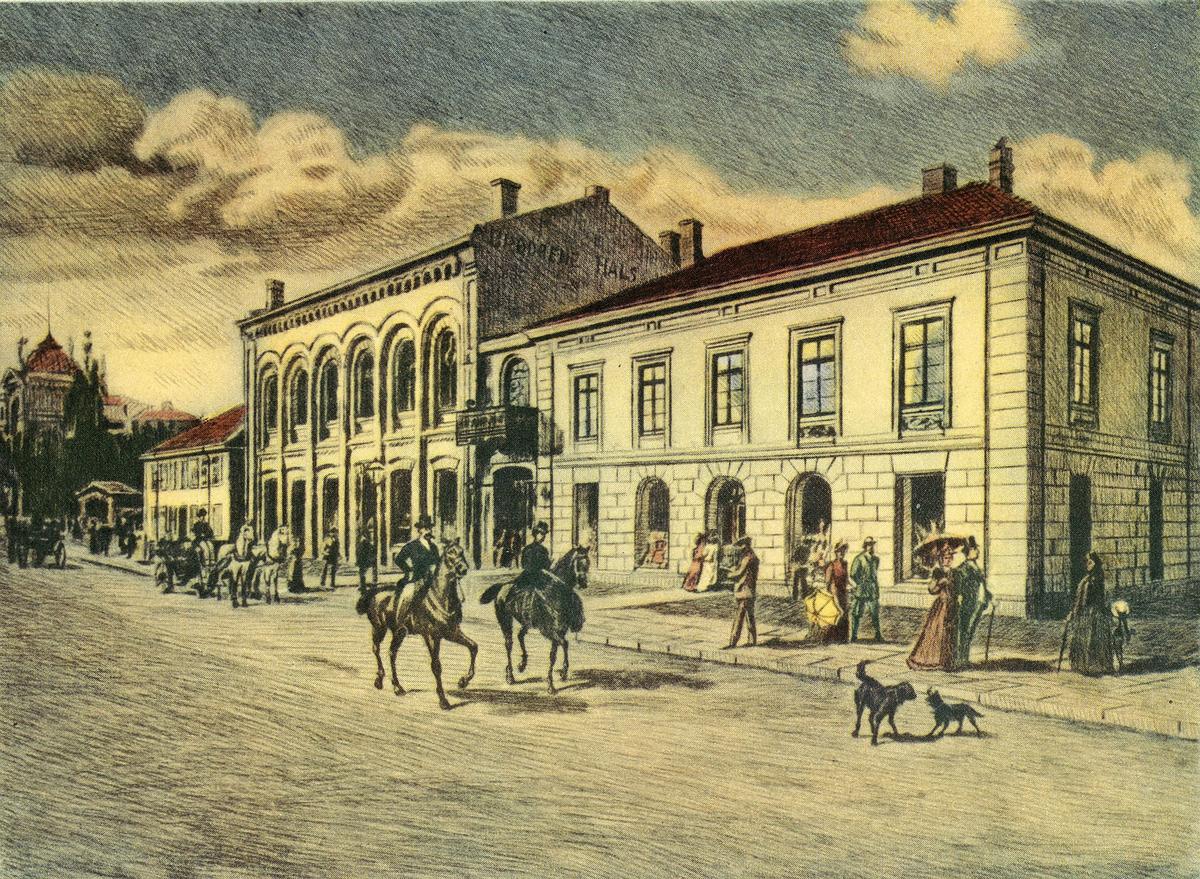 tegning, håndkolorert radering (kopi), Oslo, Stortingsgata, Harald Storm: Continenthals forgjenger
