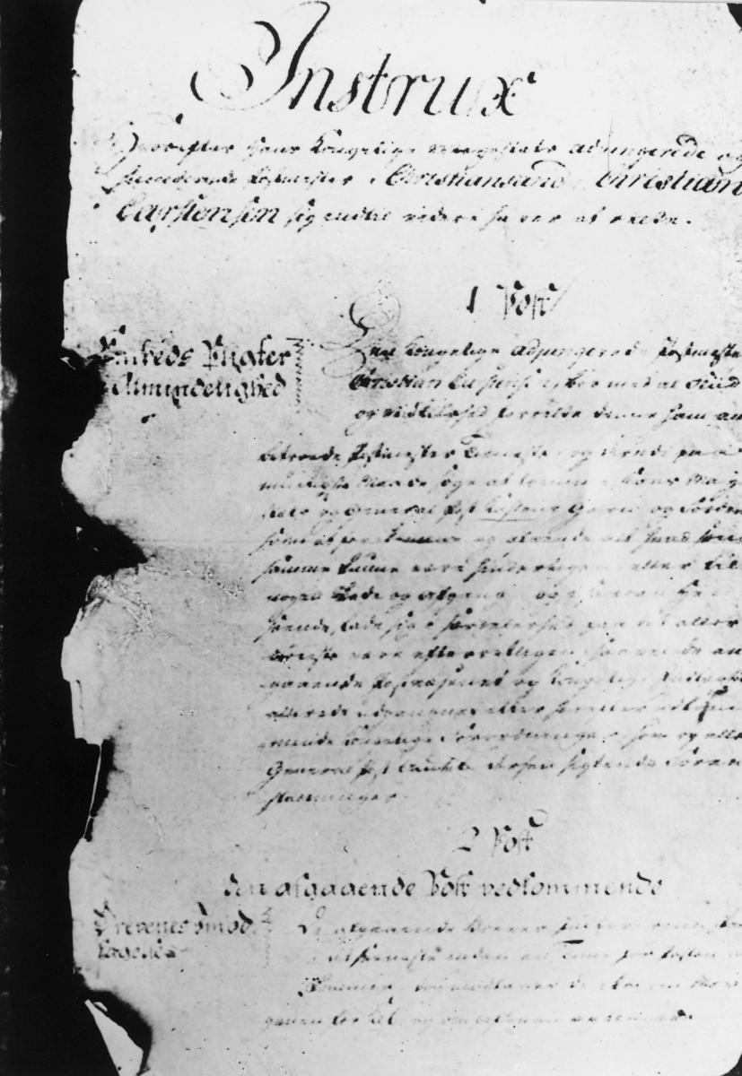 Postmuseet, samlinger, instrukser, instrux for postmester Carstensen som var postmester i Kristiansnand i 1780 årene.