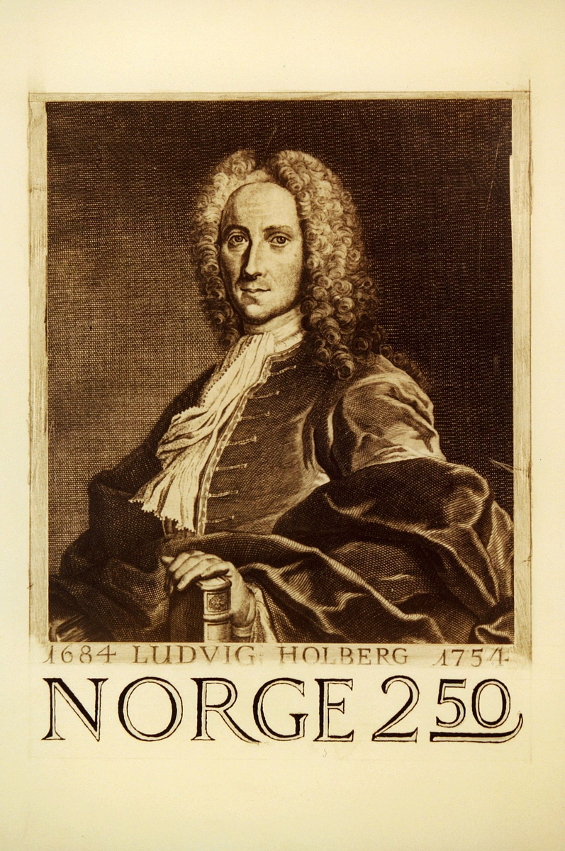 Postmuseet, frimerker, tegning, utkast, NK 958, 5. oktober 1984, 2,50 kr, s/hv, Ludvig Holberg 300 år (1684-1754), portrett, kunstner: Knut Løkke-Sørensen.