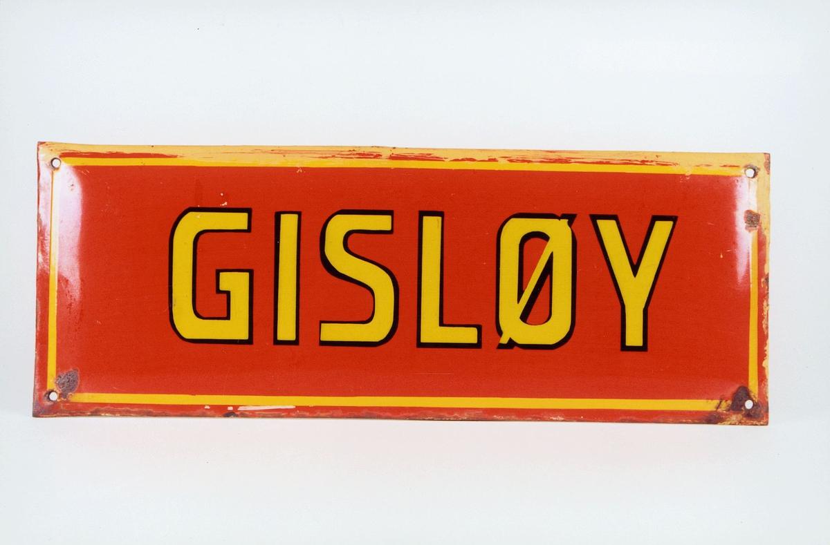 Postmuseet, gjenstander, skilt, stedskilt, stedsnavn, Gisløy.