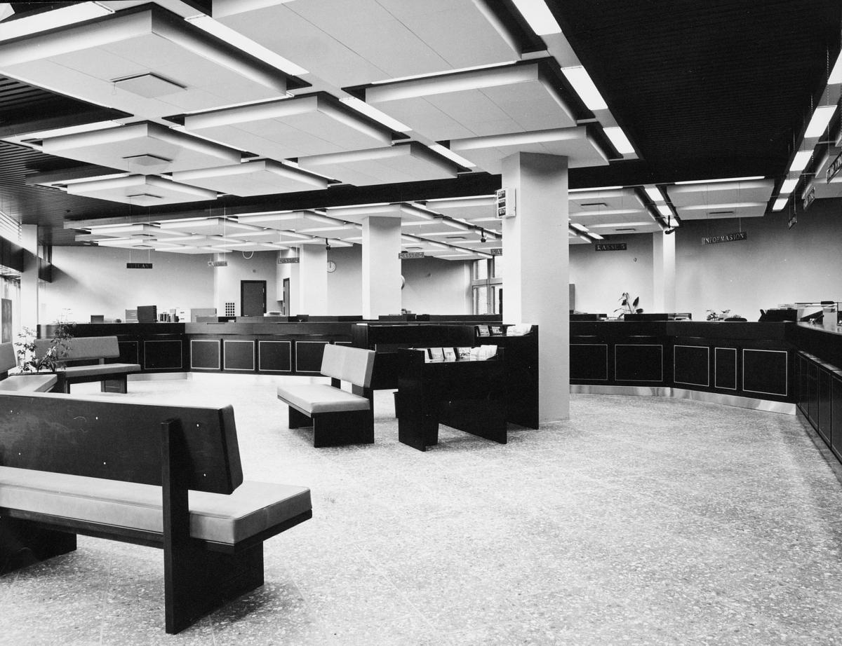 postsparebanken, interiør, publikumshall, skranke