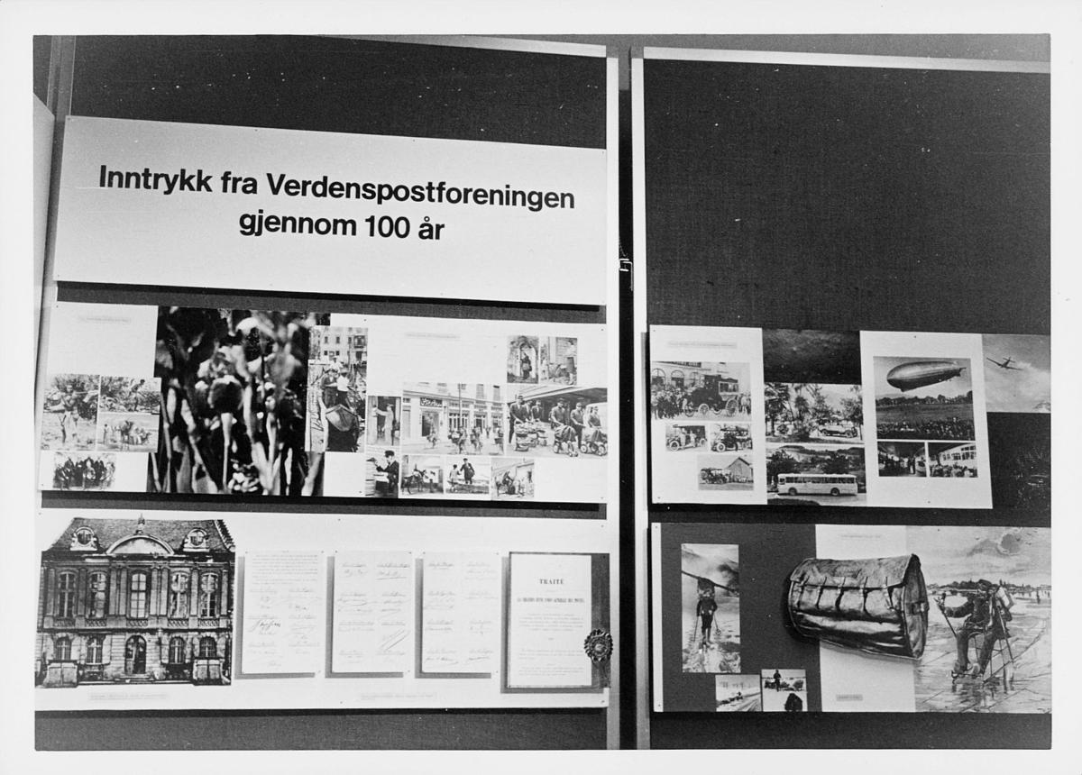 markedsseksjonen, verdenspostforeningen 100 år, bilde og tekstutstilling