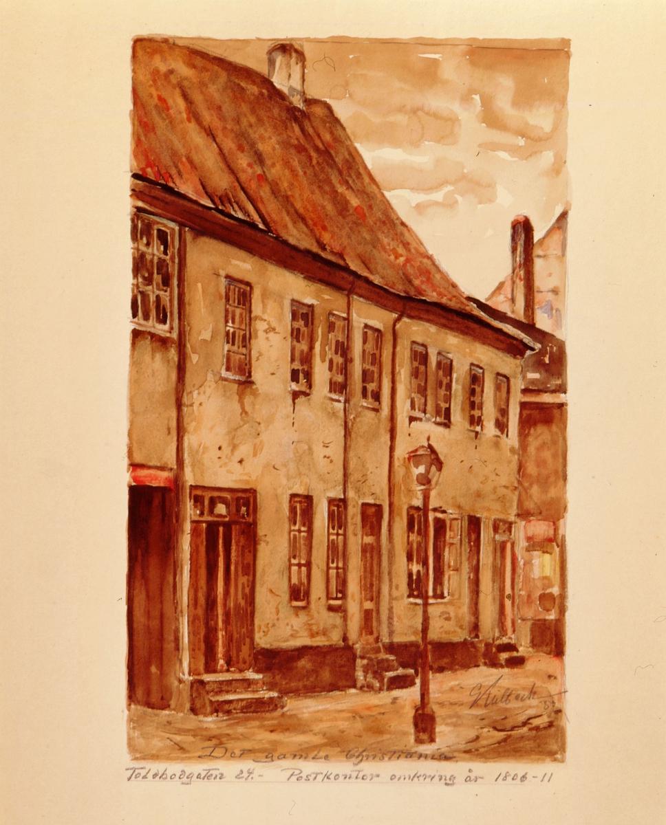 """postmuseet, kunst, akvareller, G. Kulbeck: """"Det gamle Christiania, Toldbodgaten 24"""", eksteriør, Postkontor omkring år 1806-11, motivet finnes også på CD-rom PRO1, bilde nr 93"""