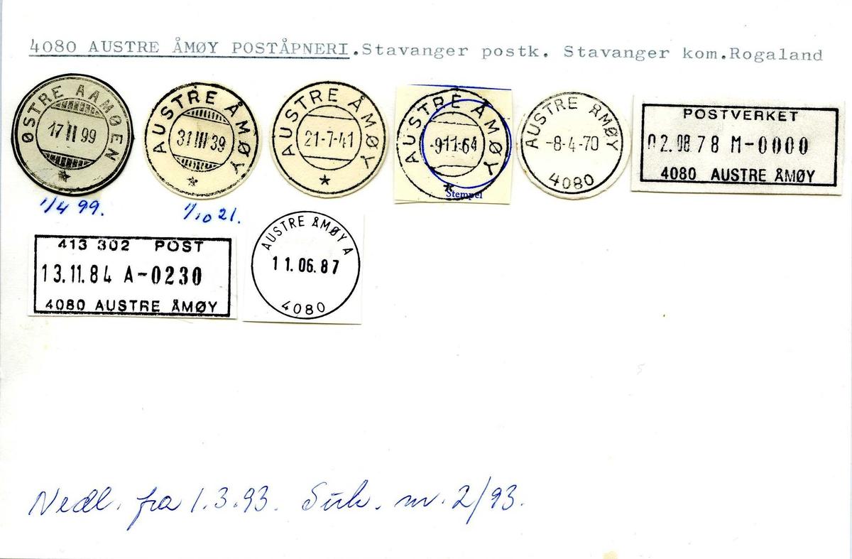 Stempelkatalog, 4080 Austre Åmøy, (Østre Aamøen), Stavanger, Rogaland