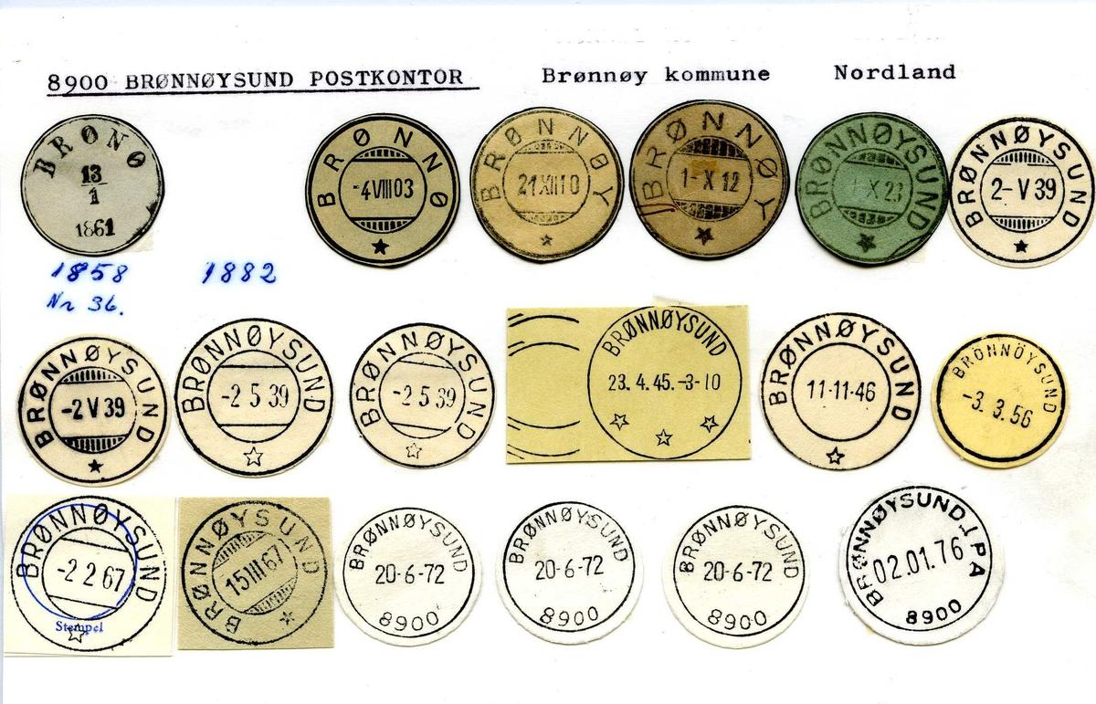 Stempelkatalog,8900 Brønnøysund, Brønnøy kommune, Nordland (Brønø, Brønnø, Brønnøy, Brønnøysund distrikt Søndre Helgelands posteksp. Sør-Helgeland