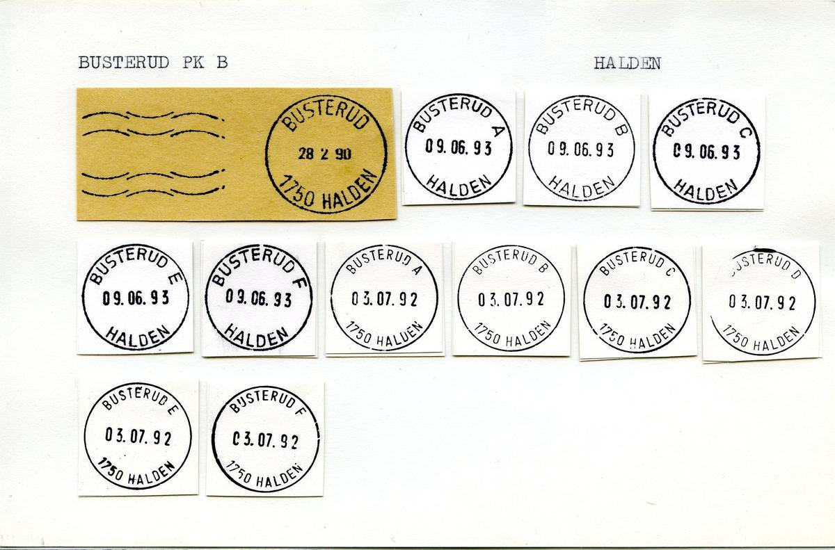Stempelkatalog,Busterud, 1750 Halden, Halden, Østfold