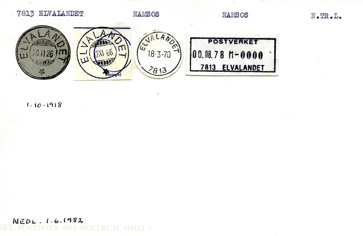 Stempelkatalog, 7813 Elvalandet, Namsos, Namsos, N.Tr.lag
