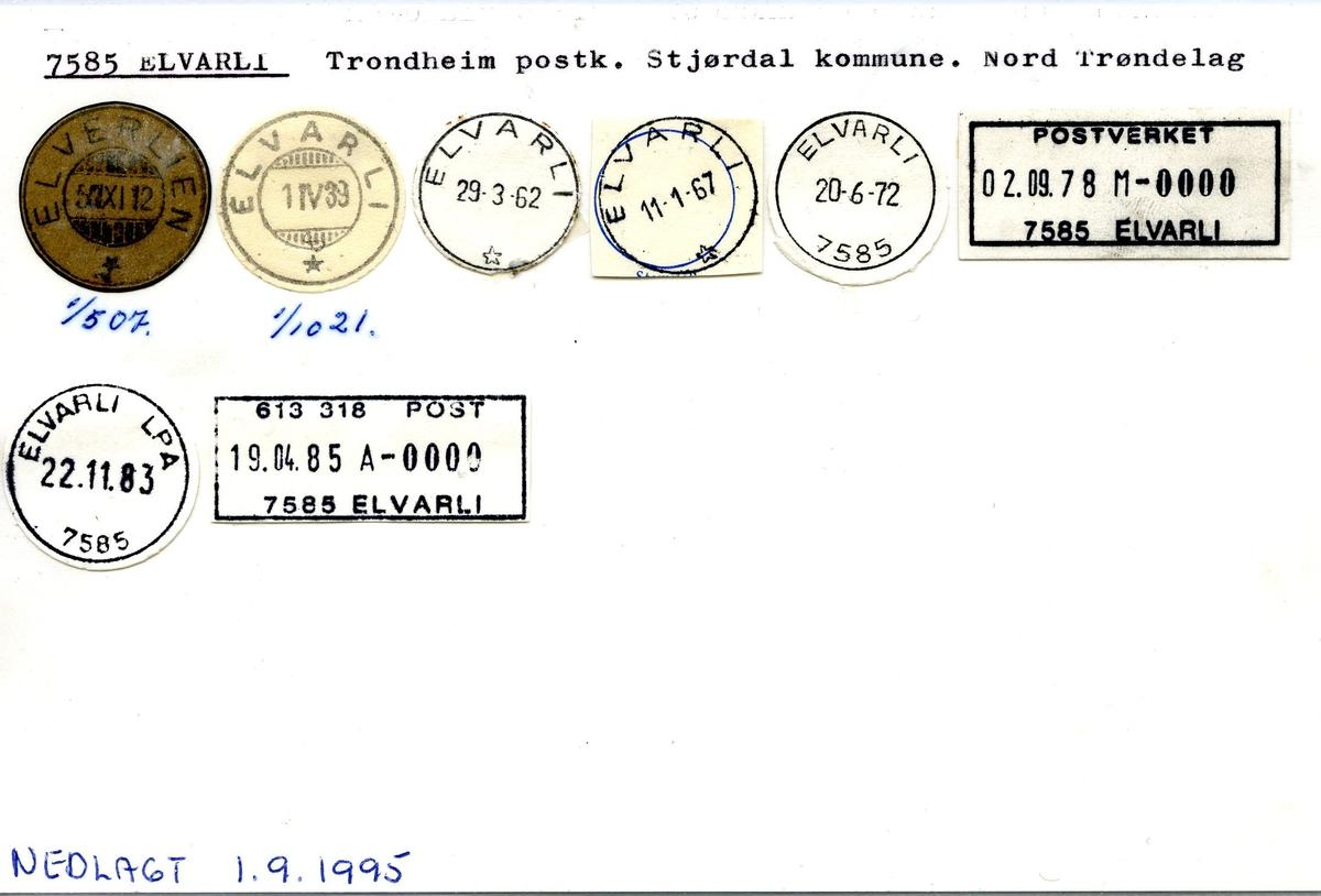 Stempelkatalog, 7585 Elvarli (Elverlien), Stjørdal, Nord-Trøndelag