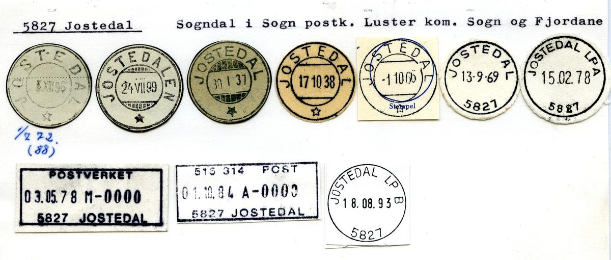 Stempelkatalog. 5827 Jostedal, Luster kommune, Sogn og Fjordane