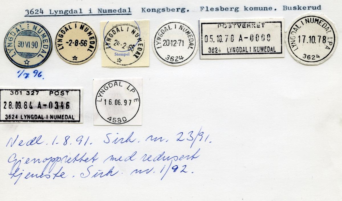 Stempelkatalog, 3624 Lyngdal i Numedal, Kongsberg, Flesberg kommune, Buskerud