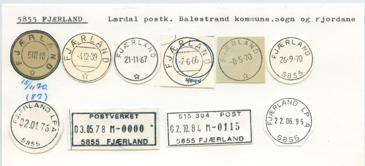 Stempelkatalog,5855 Fjærland, Lærdal, Balestrand kommune, Sogn og Fjordane