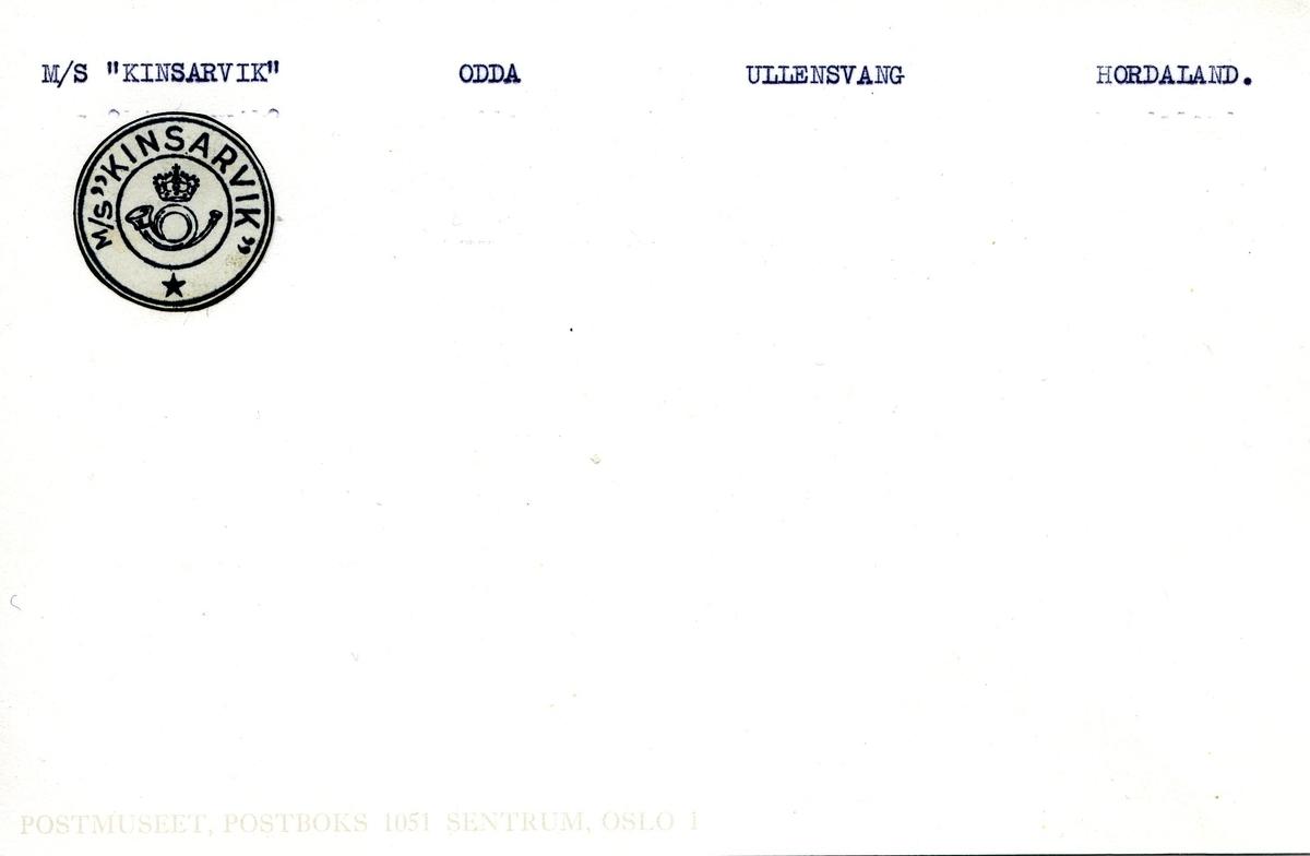 "Stempelkatalog. Ambulerende brevhus båt, M/S ""Kinsarvik"". Odda postkontor. Ullensvang kommune. Hordaland fylke."