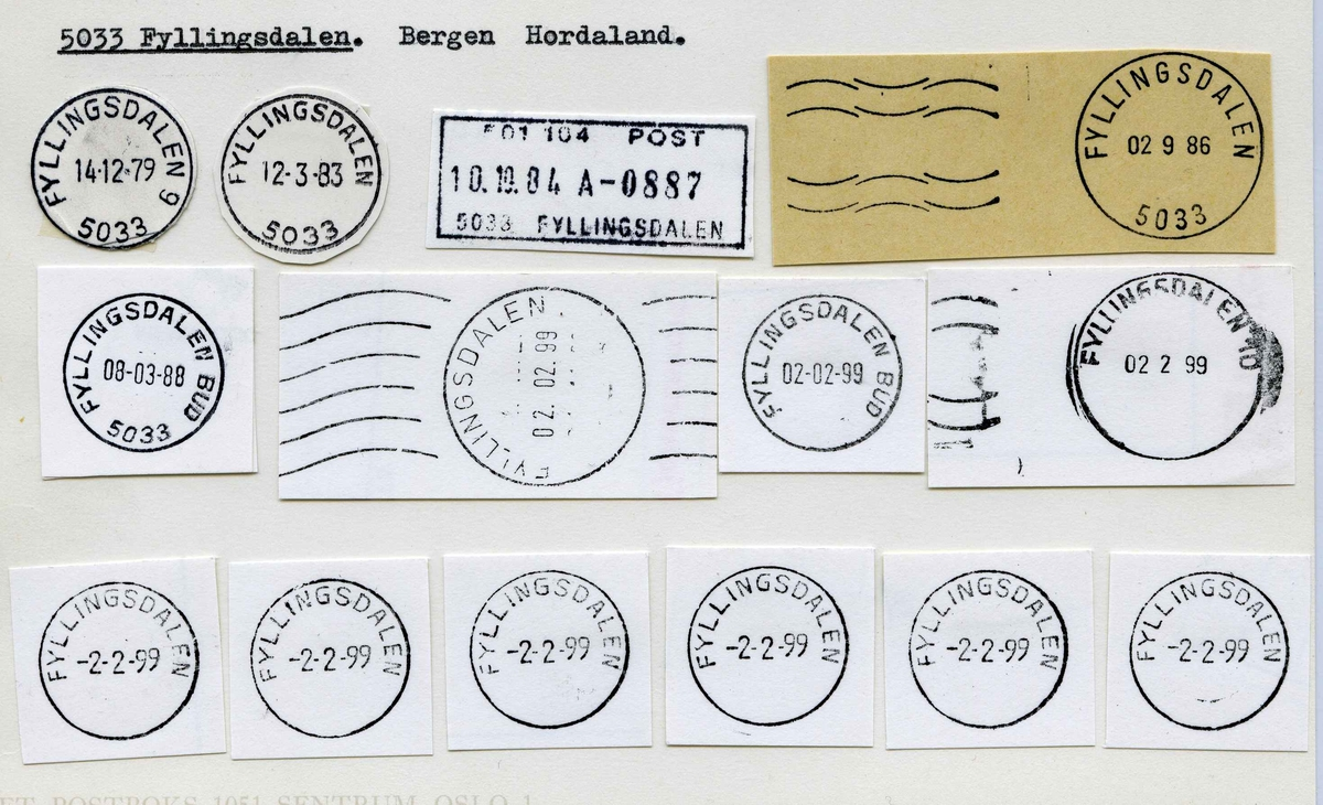 Stempelkatalog.5033 Fyllingsdalen, Bergen postk., Bergen kommune, Hordaland