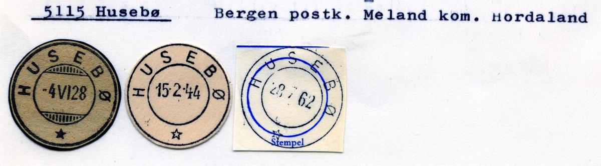 Stempelkatalog 5115 Husebø, Bergen, Meland, Hordaland