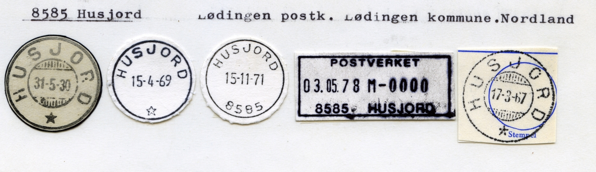 Stempelkatalog 8585 Husjord, Lødingen, Nordland